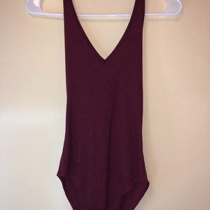 TILLY'S burgundy haltered v-neck bodysuit